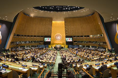United Nations General Assembly in New York. NEW YORK, USA - Sep 21, 2016: General view of the conference room of 71st session of the United Nations General royalty free stock image