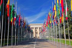 United Nations in Geneva. The Gallery of the National Flags - the main public entrance to the Palace of United Nations (Palais des Nations) in Geneva Royalty Free Stock Photo