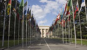 United Nations Geneva. Flags in front of the United Nations building in Geneva, Switzerland Royalty Free Stock Photography