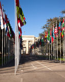 United Nations in Geneva. The Gallery of the National Flags - the main public entrance to the Palace of United Nations (Palais des Nations) in Geneva Royalty Free Stock Image