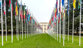 United Nations in Geneva. The Gallery of the National Flags - the main public entrance to the Palace of United Nations Palais des Nations in Geneva, Switzerland royalty free stock image