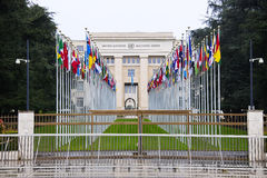 United Nations in Geneva. The Gallery of the National Flags of United Nations. Geneva. Switzerland Stock Image