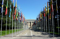 United Nations in Geneva, Switzerland. With all flags by beautiful weather Royalty Free Stock Photography