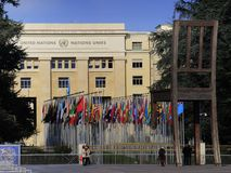 United Nations. In Geneva, Switzerland, with the Broken Chair standing at its front gate Royalty Free Stock Image