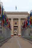 The United Nations,Geneva, Switzerland. Flags in front of the United Nations, Geneva,  Switzerland. Vertical image Royalty Free Stock Images