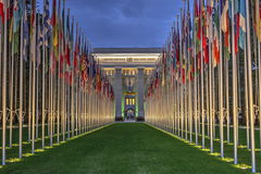 United-Nations, Geneva, Switzerland, HDR. United-Nations by night in Geneva, Switzerland, HDR Royalty Free Stock Images