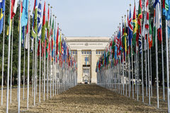 United Nations in Geneva. View of the entrance to United Nations (Palace of Nations) and the gallery of the National Flags in Geneva, Switzerland Royalty Free Stock Photography