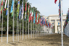 United Nations in Geneva. View of the entrance to United Nations (Palace of Nations) and the gallery of the National Flags in Geneva, Switzerland Royalty Free Stock Photo
