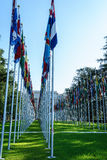 United Nations in Geneva. View of the entrance to United Nations (Palace of Nations) and the gallery of the National Flags in Geneva, Switzerland Stock Photo