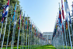 United Nations in Geneva. View of the entrance to United Nations (Palace of Nations) and the gallery of the National Flags in Geneva, Switzerland Stock Image