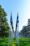 United Nations in Geneva. View of the entrance to United Nations (Palace of Nations) and the gallery of the National Flags in Geneva, Switzerland Royalty Free Stock Image