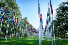 United Nations in Geneva. View of the entrance to United Nations (Palace of Nations) and the gallery of the National Flags in Geneva, Switzerland Royalty Free Stock Photos
