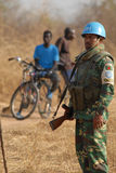 United Nations guard in Africa 2. A United Nations soldier at a border post in Southern Sudan Stock Images