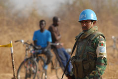 United Nations guard in Africa. A United Nations soldier at a border post in Southern Sudan Stock Photos