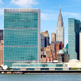 The United Nations Headquarters building in midtown Manhattan Stock Photos