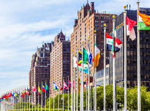United Nations Headquarters with flags of members of the UN Stock Images