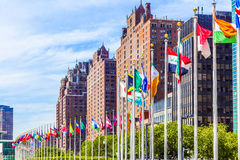 United Nations Headquarters with flags of members of the UN Stock Photo