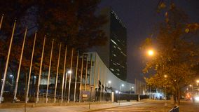 United Nations Headquarters in New York City. During the early morning without traffic and people stock footage