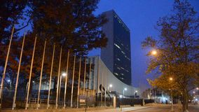 United Nations Headquarters in New York City. During the early morning without traffic and people stock video