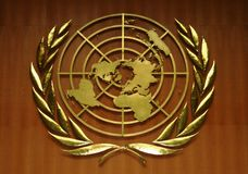 United Nations Logo. Gold-colored United Nations Logo