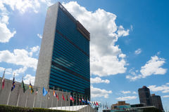 United Nations, New York city. UN building, New York city, with flags of all member countries stock photography