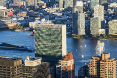 United Nations New York City. View of United Nations headquarters in New York City stock photography