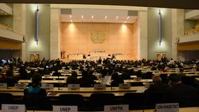 United Nations Office at Geneva. During Assembly session stock footage