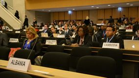 United Nations Office at Geneva. During Assembly session stock video