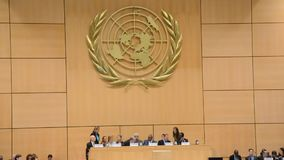 United Nations Office at Geneva. During Assembly session stock video footage