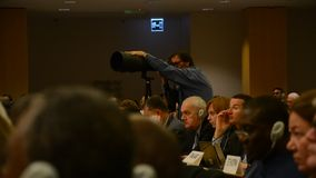 United Nations Office at Geneva. During Assembly session photographer stock video footage