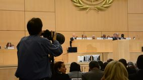 United Nations Office at Geneva. During Assembly session photographer stock video