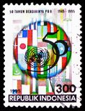 United Nations Organization, UN United Nations, 50th Anniversary serie, circa 1995. MOSCOW, RUSSIA - FEBRUARY 21, 2019: A stamp printed in Indonesia shows United royalty free stock image