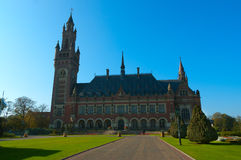 United Nations Peace Palace in The Hague, Holland. Beautiful morning over the Peace Palace in Den Haag Stock Photos