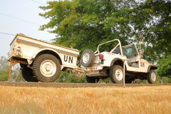United Nations Peacekeeping Jeep. A Chrysler Jeep and trailer, used for United Nations Peacekeeping duties, is on display at the 39th Service Battalion in Royalty Free Stock Images