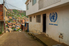 United Nations in a Slum. A UN office located in a slum south of Bogota Royalty Free Stock Photos