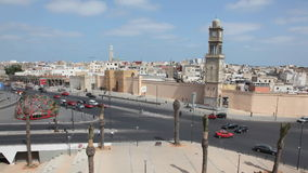 United Nations Square in Casablanca. Aerial view of the United Nations Square in Casablanca, Morocco. Time Lapse Video stock video footage