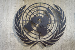 United Nations Symbol. Logo/symbol of the United Nations at the front entrance of the Palais des Nations in Geneva, Switzerland Royalty Free Stock Photos