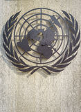 United Nations Symbol. Logo/symbol of the United Nations at the front entrance of the Palais des Nations in Geneva, Switzerland Stock Images
