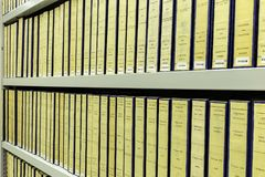 United Nations treaties. Bookshelf storage of a copy of all the United Nations treaties books at the Peace Palace Royalty Free Stock Photo
