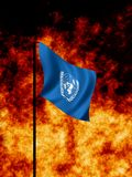 United Nations in Wartime. United Nations flag flies in Wartime royalty free stock photos