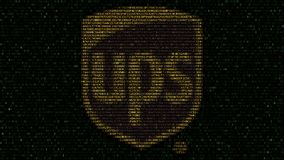 United Parcel Service UPS logo made of hexadecimal symbols on computer screen. Editorial 3D rendering Royalty Free Stock Images