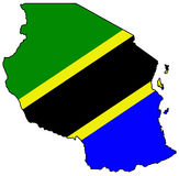 United Republic of Tanzania. Territory of Tanzania filled with the national flag Stock Images