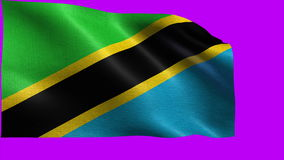 United Republic of Tanzania, Flag of Tanzania - seamless LOOP. Beautiful 3d flag animation on green/blue screen in 4k format - seamless looped stock footage
