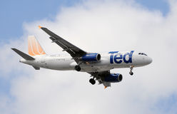 United's low cost subsidiary Ted. Miami, Florida - February 18, 2009: United's low cost subsidiary called Ted flying and Airbus A-320 jet. Ted was eventually Royalty Free Stock Image