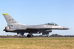 United Staes Air Force USAF Lockheed F-16CJ Fighting Falcon 90-0824 from the 14th Fighter Squadron, 35th Fighter Wing at Misawa royalty free stock photos