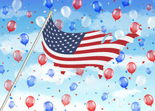 United state of america flag balloon with sky Stock Photos