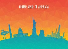 United state of america Landmark Global Travel And Journey paper. Background. Vector Design Template.used for your advertisement, book, banner, template, travel Stock Image