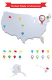 United state of America Map. Showing capital , whit gps pin icons Stock Photography