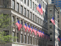 United State flags displayed on Manhattan building. Many U.S. flags displayed on Manhattan building Royalty Free Stock Image