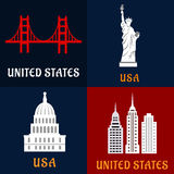United State landmark and travel flat icons Royalty Free Stock Photos